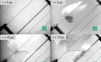 A sequence of a simualtion of space debris hitting an unmanned emergency space carrier shield as recorded with a hsfc pro MCP image intensifier camera system